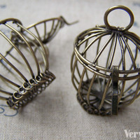 1 pc of Antique Bronze Huge Bird Cage Pendant 30x43mm A149 – VeryCharms