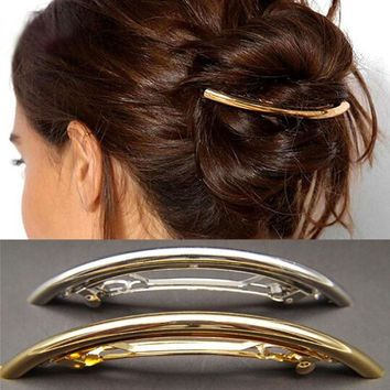 Hair Clips Women Girls Metal Gold/Silver Plated Plain ARC Tube Big Hairgrip Hair Clips Hairpins Hair Accessories