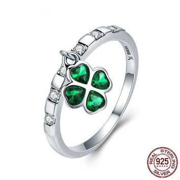 925 Sterling Silver Ring Lucky Four Leaf Clover