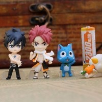 Fantastic Job Full Set of 6 Favorites Fairy Tail Anime Figures Characters Miniature Toy Figures Natsu Dragneel, Happy, Ezra Scarlet, Gray Fullbuster, Lucy Heartfilia, and Pue (A.k.a. Nokora) Figures