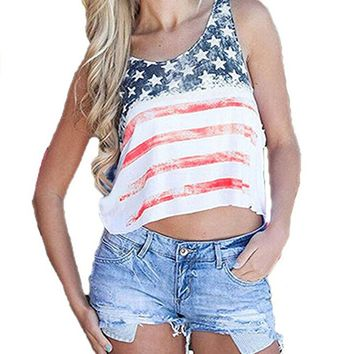 Women's American Flag Crop Tops