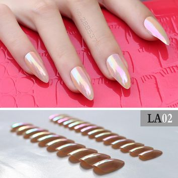 Nude Color full cover stiletto nails Tips Metal pink False nail Salon Mirror 24pcs mountain peak laser end product Fake nail
