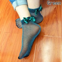 Bow Tie Harajuku Cute Socks Glitter Mesh Silk Ribbon Butterfly Sexy Hot Meias Shiny Crystal Glass Elastic Bow Knot