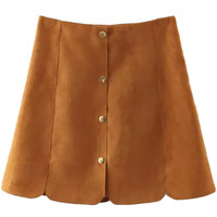 High Waist Button Front A-line Skirt