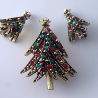 Vintage Holllycraft Ribbon Tree Brooch And Earrings Set