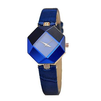 5 Color New jewelry Watch Fashion Gift Table Women Watches Jewel Gem Cut Black Surface Geometry Wristwatch
