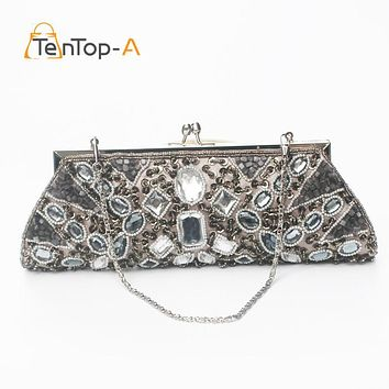 TenTop-A 100% Hot Women's Evening Bag Acrylic Beads Clutch Bags Delicate Banquet Bags Party Purse Handmade Beaded Craft Handbags