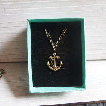 Custom necklace, anchor pendant necklace, vintage bronze The ship submarine anchor Necklace charm necklace with chain necklace with gift box