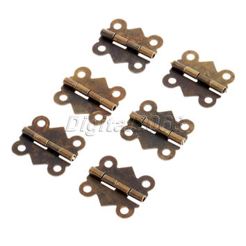 12pcs 4 Holes Bronze Butterfly Hinges Jewelry Gift Wine Box Wood Dollhouse Door Hinge Cabinet Drawer W/srew 20x17mm