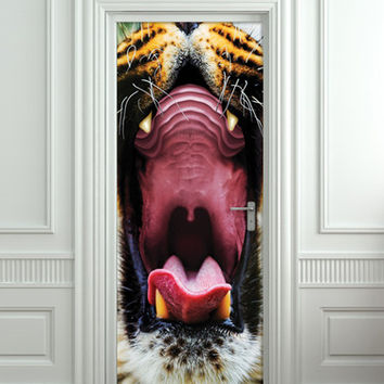 Door STICKER tiger mouth animal mural decole film