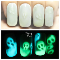 Invisible Ghosts Glow in the Dark Freehand Nail Art. Handmade Fake Nails, False Nails, Press On Nails, Micropainting On Nails