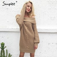 Simplee One shoulder sexy winter dress women Knitted loose oversized jumper winter dress 2017 Autumn new casual pullover