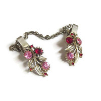 Red and Pink Rhinestone Floral Sweater Guard or Clips Vintage 1950's