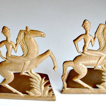 Vintage Bookends Horse and Rider Equestrian Decor Solid Bronze Etruscan