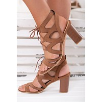 Under The Moon Lace Up Booties (Camel)