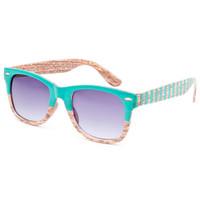 Blue Crown Wood Geo Sunglasses Turquoise One Size For Men 25374824101