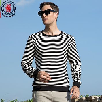 Winter Thick T Shirt Men Striped Casual Home Tee Shirt Cotton Hombre T shirt