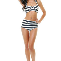 Black & Ivory Set Sail Striped Bikini Swimsuit - Unique Vintage - Cocktail, Evening & Pinup Dresses