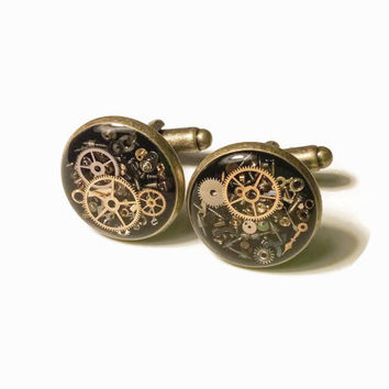Steampunk Cufflinks brass accented filled with real recycled watch parts LIMITED EDITION Groomsmen Bridal Party Groom Wedding Gift