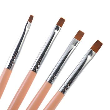 4Pcs/Set Nail Brushes Portable Nail Art Uv Gel Flat Brush Kit Painting Nail Tools #16583