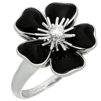 Van Cleef & Arpels Nerval Diamond Black Onyx White Gold Flower Ring