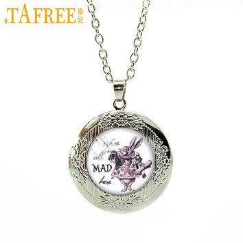 TAFREE We're all Mad here White Rabbit Alice in Wonderland Necklace Cartoon totoro prince My Little P pendant jewelry N463