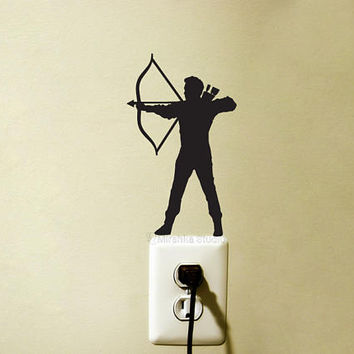 Bow And Arrow Light Switch Decal - Archery Vinyl Wall Sticker - Teen Room Wall Art - Hunting Wall Decor - Man Warrior Laptop Decal - Bowman