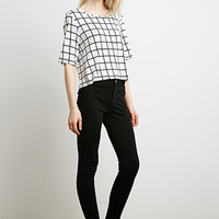 Windowpane Print Top