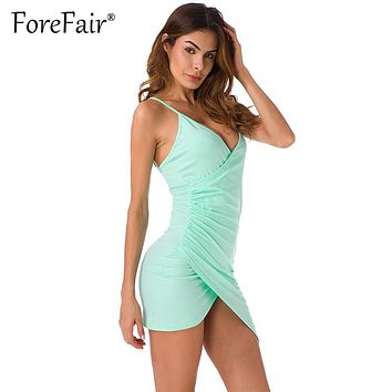 Forefair Sexy Ruched High Low Criss-Cross Strap Backless Dress 2017 Summer Mint Green Cotton Dress Women V Neck Bodycon Vestidos