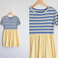 vintage '80s/'90s blue & yellow STRIPED KNIT short sleeve BABYDOLL mini dress. size m l.