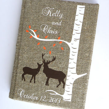 Wedding guest book  Doe and Buck under white birch tree with autumn leaves