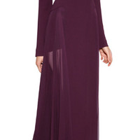 Elie Saab - Long Sleeve Backless Gown