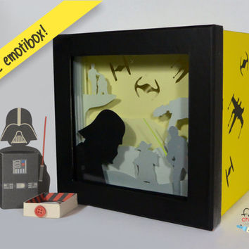 Star Wars shadow box night light, Special night light, unique special gift, geek night light, star wars home decor, star wars gift