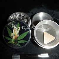 Mary Jane Sexy Weed Leaf Girl 4 Piece Herb Grinder Pollen Screen Catch