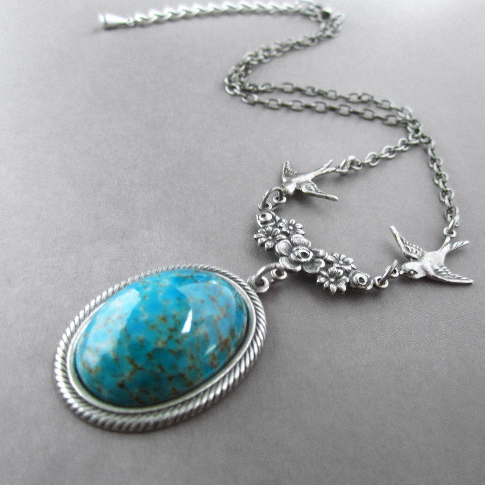 Turquoise Necklace Victorian Birds from Arx Rosarum