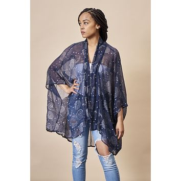 Dancing Umbrellas Kimono Jacket in Navy + Metallic