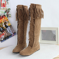 On Sale Hot Deal Knee-length Stylish Tassels Plus Size Boots [9432960330]