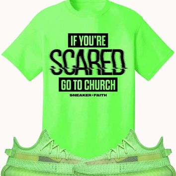 Adidas Yeezy 350 Boost Glow Volt Sneaker Tees Shirt to Match - SCARED