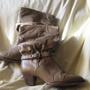 Vintage Boho BROWN Leather stacked wood heel   Slouch Boots