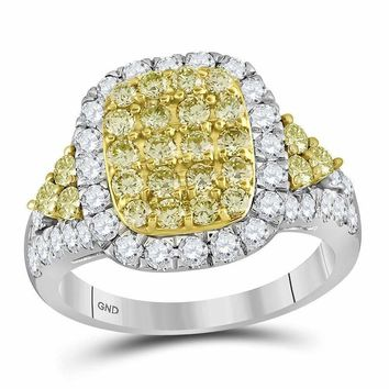 14kt White Gold Womens Round Canary Yellow Diamond Rectangle Cluster Ring 1-7-8 Cttw