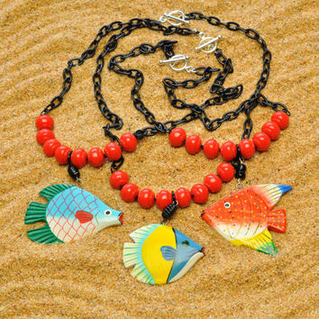 Folk Art Fish Necklace