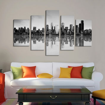 Large Wall Art SEATTLE Canvas Print - Seattle City Landscape with Perfect Reflection of Buildings on Water (Gray Version)