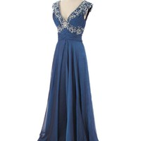 Beaded Iridescent Blue Chiffon Evening Gown