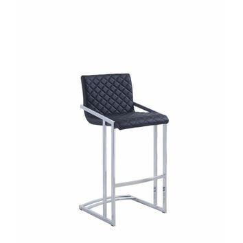 Diamond Pattern Bar Height Stool with Cantilever Base, Black And Silver By Coaster