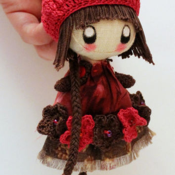 Textile brooch brown and cherry Frosya brooch doll jewerly