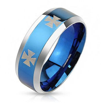 Iron Blue - FINAL SALE Laser etched iron cross design blue IP and silver stainless steel band with beveled edges