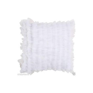 "Surya 18"" Inch Tulle Ruffle Down Decorative Throw Pillow, White"