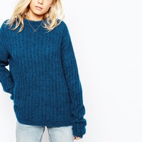 Just Female Glow Oversized Boxy Knit Jumper in Medieval Blue