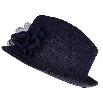 River Island Girls navy broderie anglaise hat