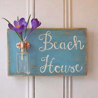 Wall Flower Vase, Antique Bottle, Beach House, Copper Hanger, Home Decor, Sign, Provence Chalk Paint, Light Blue
